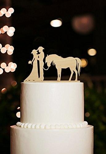 Siluet Pengantin Kue Pengantin Toppers Kue Topper Cowboy Dengan Kuda