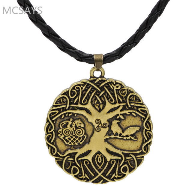MCSAYS Norse Vikingm Mens Jewelry Tree Of Life Odin Circular Sliver
