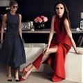 FANTFUR Runway Victoria Beckham Dress for Women Cor Sólida Preto/Vermelho Vestidos de Festa Vestidos Sem Mangas Assimétricas Mid