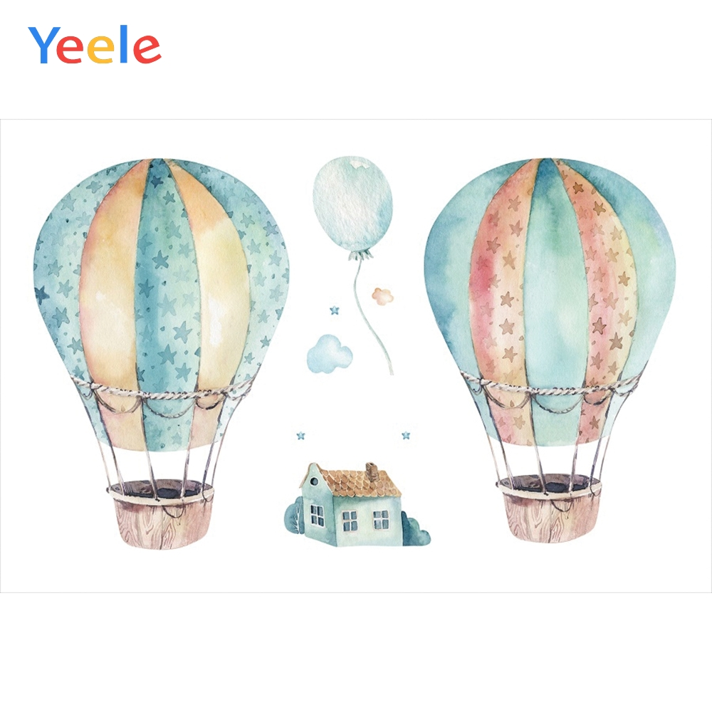 Yeele Baby Shower Backdrop Hot Air Balloon House Photography Backdrops Personalized Photographic Backgrounds For Photo Studio