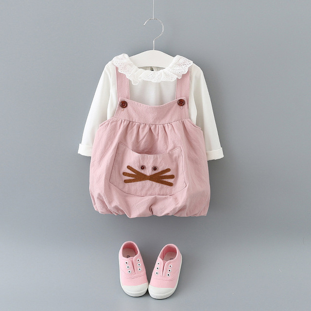 New Baby Girl Clothes Korean Big Pockets Cartoon Strap Dress Fashion Baby Girl Clothing Long sleeves T shirt + Moustache Dress