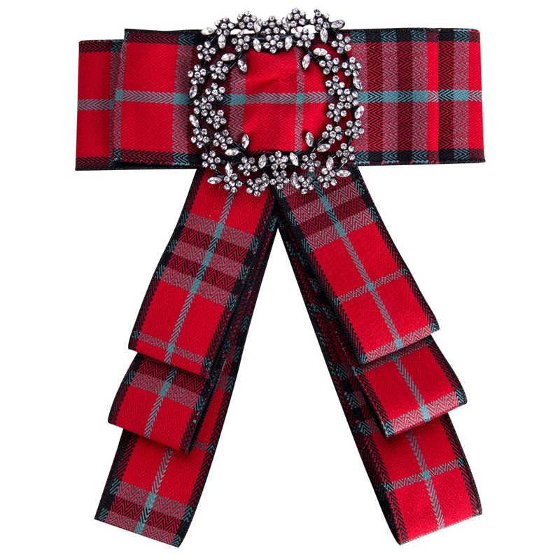 ริบบิ้นโบว์โบว์สำหรับผู้หญิงผ้า Bowknot Tie เนคไท Corsage เสื้อ Rhinestone เข็มกลัด Pins เครื่องประดับงานแต่งงาน
