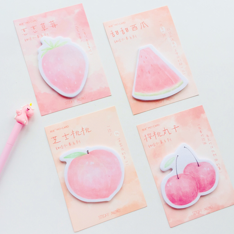 30 Sheets Pink Style Strawberry Peach Memo Pads Student Stationery Notepad School Office Supply
