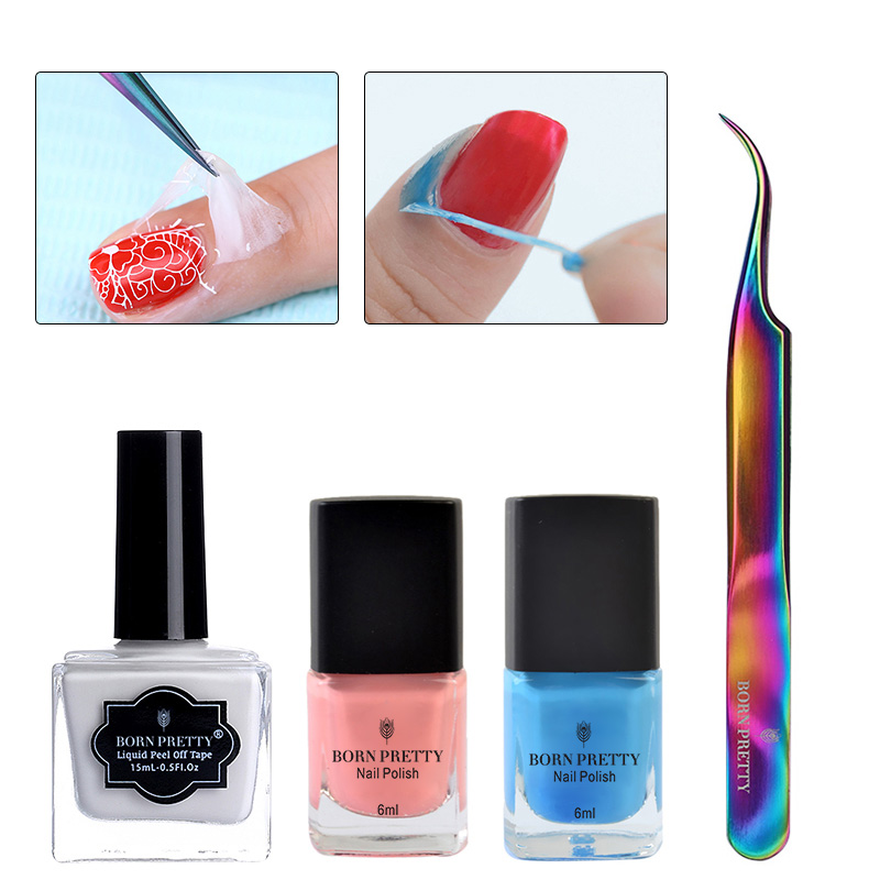 BORN PRETTY Peel Off Nail Latex Liquid Tape met Rainbow BlackCurved - Nagel kunst