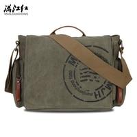 MANJIANGHONG Vintage Men S Messenger Bags Canvas Shoulder Bag Fashion Men Business Crossbody Bag Printing Travel