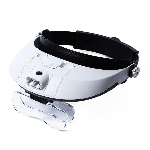 Beileshi led 헤드 밴드 돋보기 1.0 6.0x 돋보기 확대경 5 개의 교체 가능한 렌즈가있는 분리형 전조등 돋보기