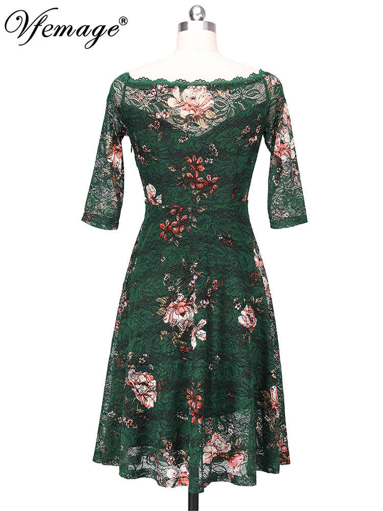 Vfemage Womens Illusion Boothals Contrast Bloemen Kant Half Mouw Cocktail Wedding Party Fit En Flare Skater A-lijn Jurk 2338