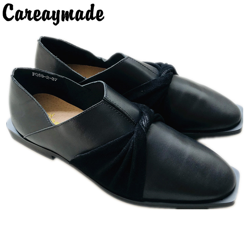 Careaymade-New Spring Style Originally Manual Customized Restoration Cowhide Literature Art Baitao Spiked Women's Single Shoes
