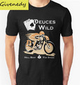 Envío Libre Deuces Wild Cafe Racer hombres Camiseta 2016 nuevo Verano de Impresión de Algodón de Manga Corta Camiseta Más tamaño S-2XL