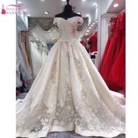 קו רכבת קפלת שמלת כלה 2017 vestido דה noiva שמלות עם רקמה ייחודית Vintage חתונת robe דה mariee