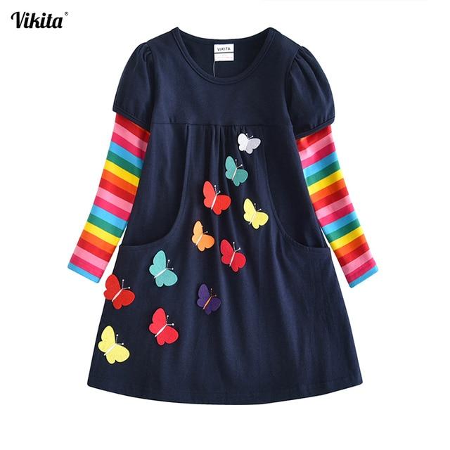 VIKITA/Детское платье для девочек, платье принцессы для маленьких детей, vestidos, детская одежда, зимние платья для девочек, От 2 до 8 лет LH5805 MIX