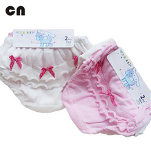 Free shipping 2 piece / lot cotton White and pink Solid Bow Childrens Clothing Underwears 2-7 years girl shorts Girl Panties