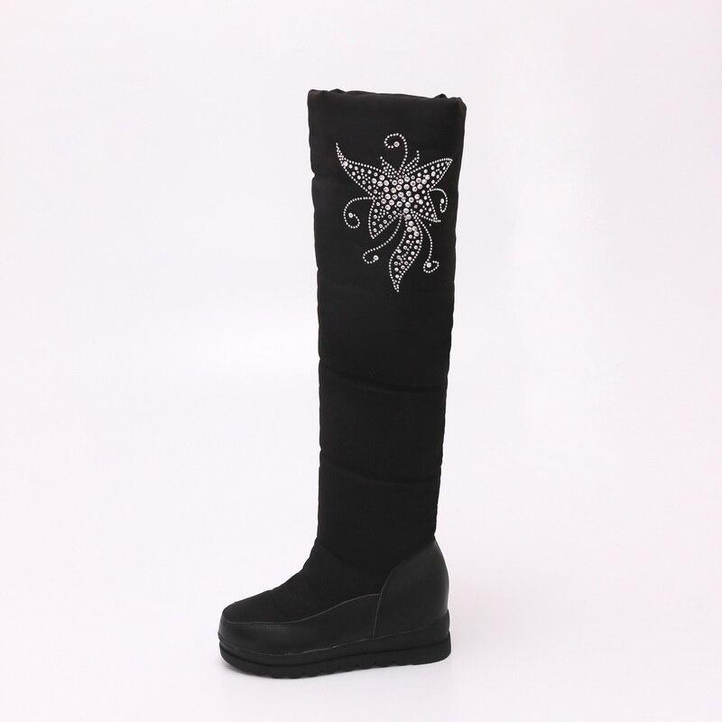 Invierno Mujer Negro Botas Talones Moda De Marca rojo Mano blanco Zapatos A Alta Hecho Xiuningyan Mujeres Rodilla Nieve 2017 Impermeable Plataforma Planos 6xHqnSp