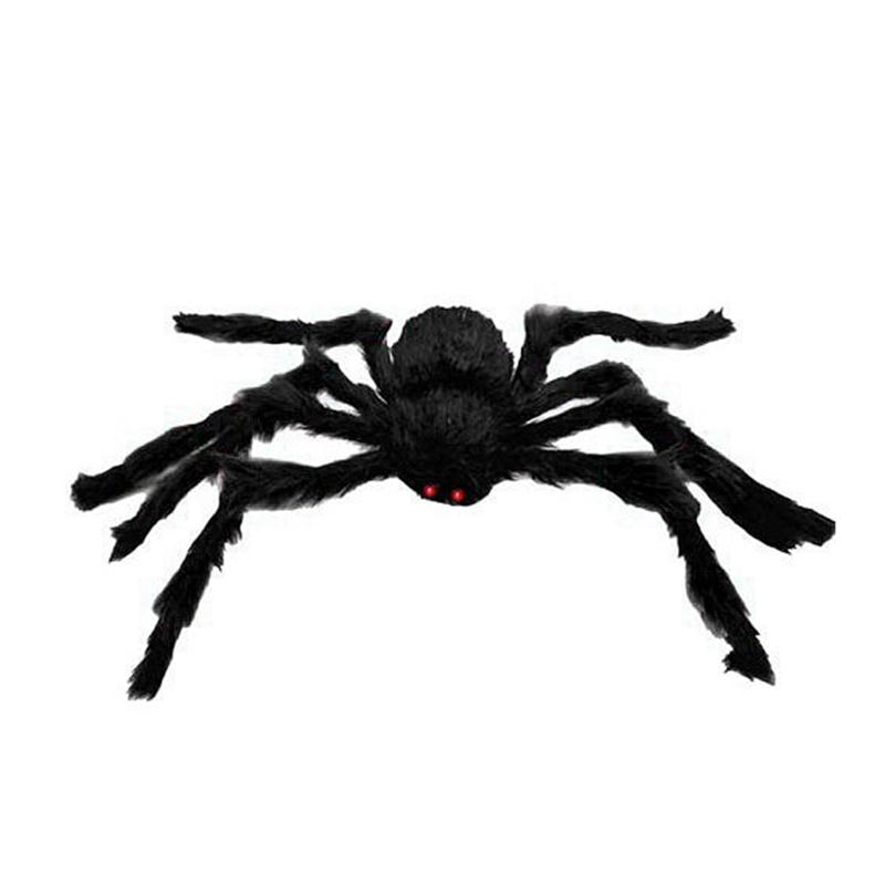 15 meters bushy giant black spider funny joking toys halloween decoration for bar party haunted house