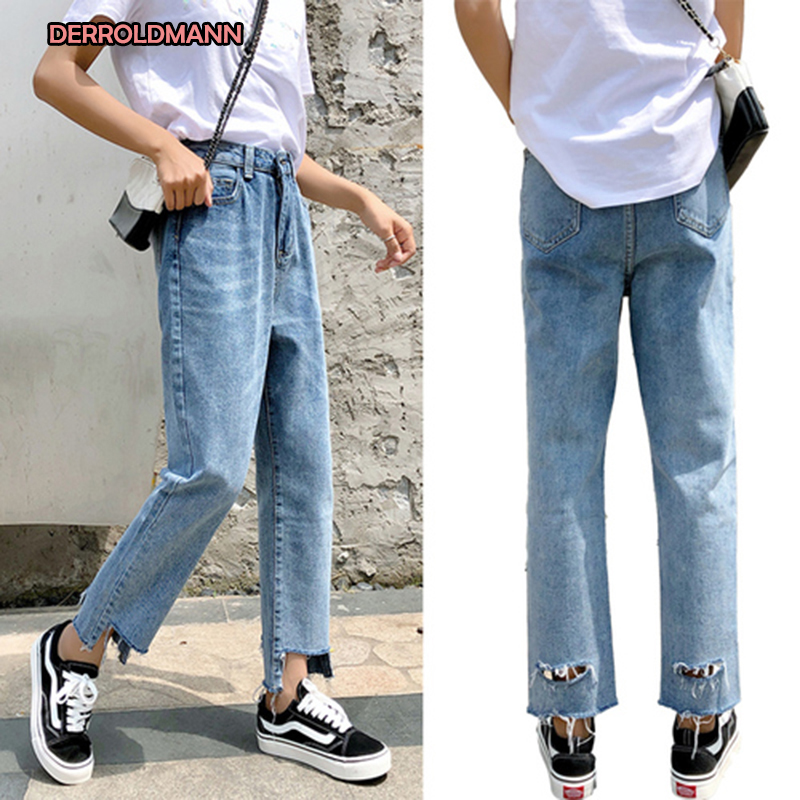 Spring Summer Korean Jeans With Holes Denim High Waist Straight Fashion Broken Jeans Pants Women