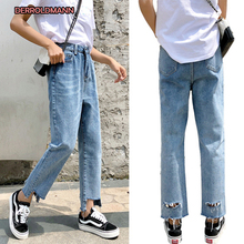 Spring Summer Korean Jeans with Holes Denim High Waist Straight Fashion Broken Jeans Pants Women girls jeans small pants 2018 new children s korean version self cultivation fashion broken holes pencil pants