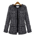 2016 preto das senhoras tweed jaqueta casaco primavera outono inverno slim fit mulheres jaqueta plus size clothing s-xxl xxxl