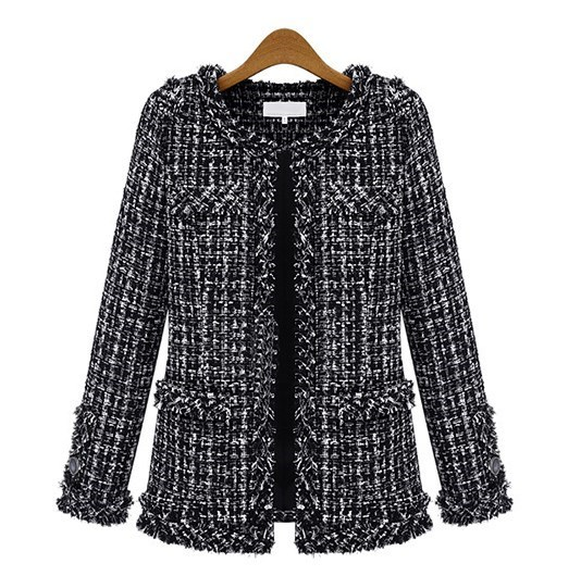 Fall 2019 Womens Black Plaid Tweed Jacket Cropped Ladies Slim Outerwear for Women Fashion Jackets Spring Autumn Coat