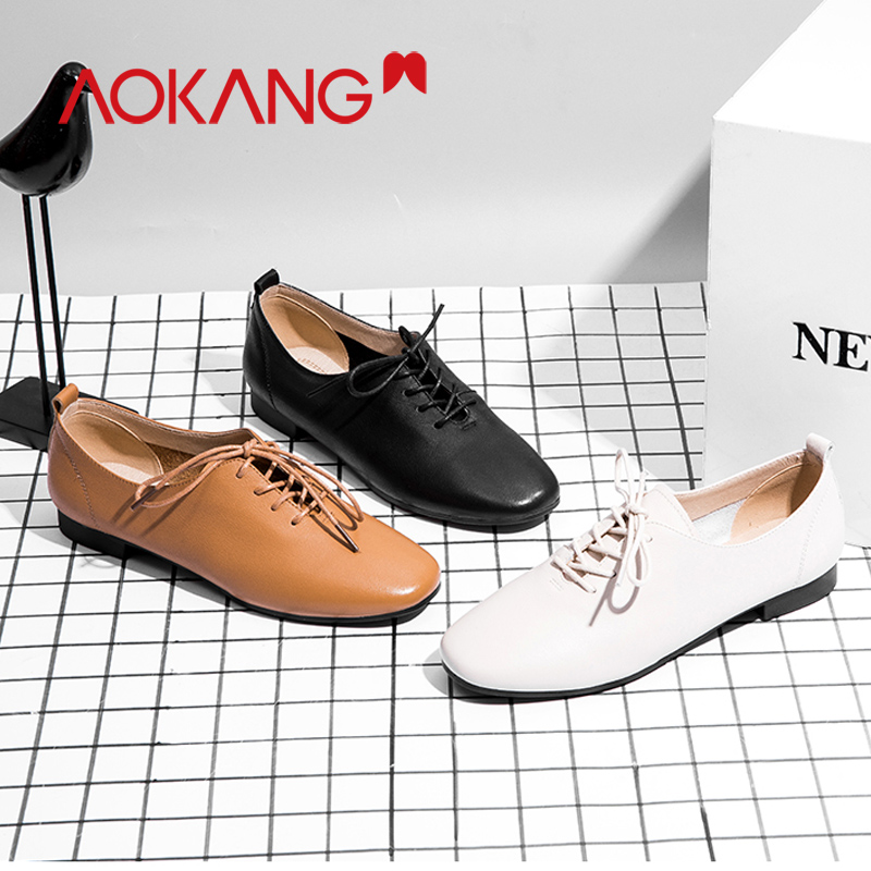 AOKANG 2019 Spring New Arrival shoes ladies genuine leather womens pumps Shoes lace up fashion