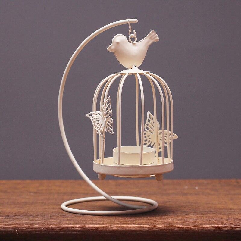 Vintage Metal Bird Cage Decor Tea Light Candle Holder Candlestick Wedding Gifts