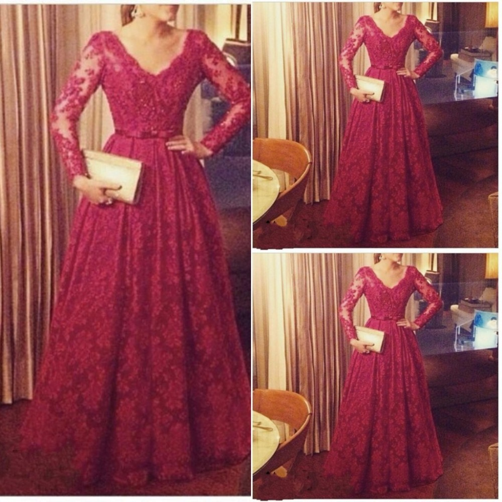 Online Shop 2015 Custom Made Dark Red Prom Dress Plus Size A Line ...
