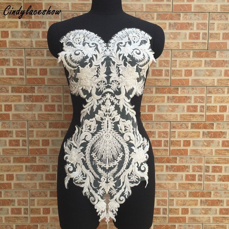 63*30cm Large White Beaded Lace Applique Mesh Venise Bridal Lace Trims Wedding Dress Front Chest Accessories Sewing Appliques