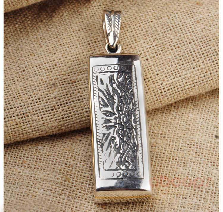 Vintage 925 Sterling Silver Harmonica Shaped Necklace Pendant for Men Boys Free Shipping in Pendants from Jewelry Accessories