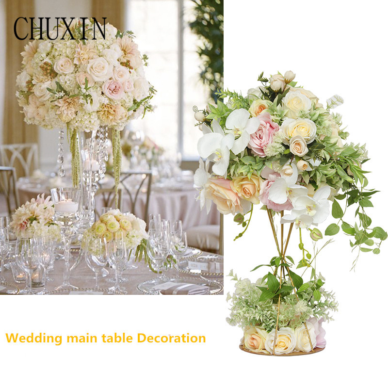 1set wedding main table flowers Artificial silk flower iron shelf Wedding scene layout fake flowers Welcome