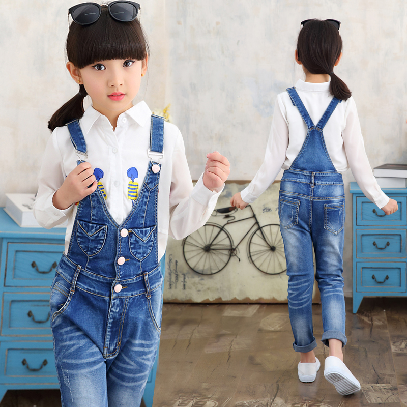 2017 SPRING Autumn US Style Girl Jumpsuit Cute Sweet Fashion Washed Jeans Denim Romper Jumpsuits Straps Denim Pants Cowboy Blue kids boys jeans trousers 100% cotton 2017 spring autumn washed high elastic children s fashion denim pants street style trouser