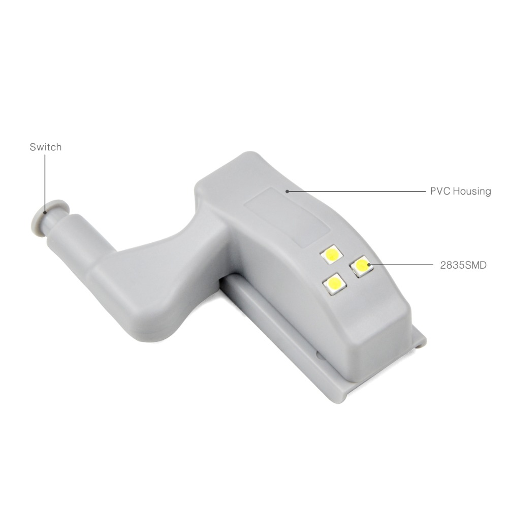 Image 2 - 10Pcs Universal Cabinet Wardrobe Hinge LED light 0.3W Bulb Closet Cupboard Door lamp Auto Switch Night light kitchen lighting-in LED Bulbs & Tubes from Lights & Lighting