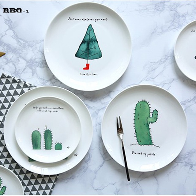 1pc Bone China Cake Dishes Plate Dinner Plates Cartoon Cactus Printed Porcelain Pastry Fruit Tray Ceramic  sc 1 st  AliExpress.com & 1pc Bone China Cake Dishes Plate Dinner Plates Cartoon Cactus ...