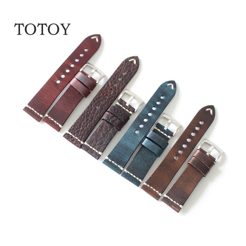 TOTOY Handmade Genuine Leather Bracelet Vintage Folded Belt 18MM 20MM 22MM 23MM 24MM Watchband