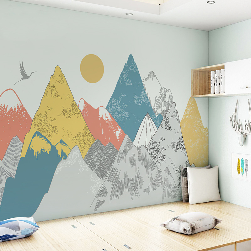 Image 5 - Creative Colored Mountains Sunset Pattern Wall Stickers Woodland  Tribal Living Room Wall Decal Vinyl Art Wallpaper DecorationWall  Stickers