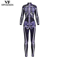 VIP FASHION 2019 New Design Cosplay Bodysuit 3D Skeleton Purple Print Rompers Halloween Dress Up Costumes For Women Jumpsuit