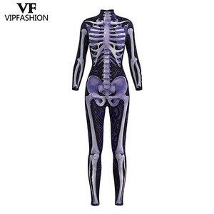 Image 1 - VIP FASHION 2019 تصميم جديد تأثيري ارتداءها ثلاثية الأبعاد الهيكل العظمي الأرجواني طباعة ثوب فضفاض فستان هالوين حتى ازياء للنساء بذلة