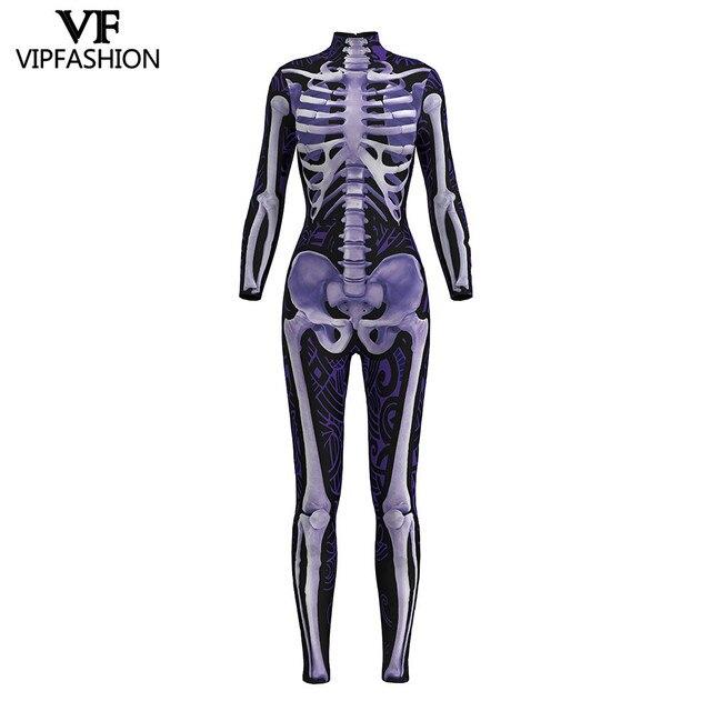 VIP di MODO di 2019 Nuovo Disegno Cosplay Tuta 3D Scheletro di Stampa Viola Body E Pagliaccetti Halloween Dress Up Costumi Per Le Donne Della Tuta
