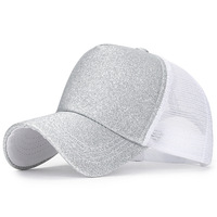 Women's Spring and Summer Glittering Trucker Hat with Breathable mesh Shiny thread Curved bill Adjustable Snapback Baseball Cap