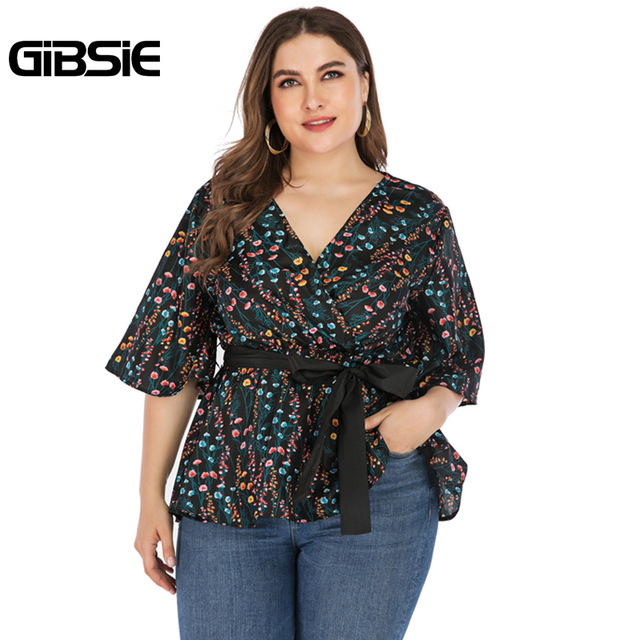 GIBSIE Plus Size Elegant Floral Print V-neck Wrap Blouse Women 2019 Summer Casual Belted Hafl Sleeve Ladies Tops and Blouses