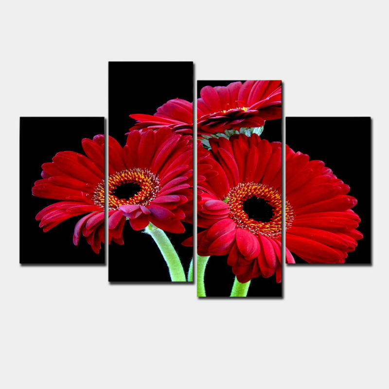 Modern Wall Art Home Decoration Printed Oil Painting Pictures 4 Panel HD Canvas Prints Beautiful African Red Daisies Prints Deco