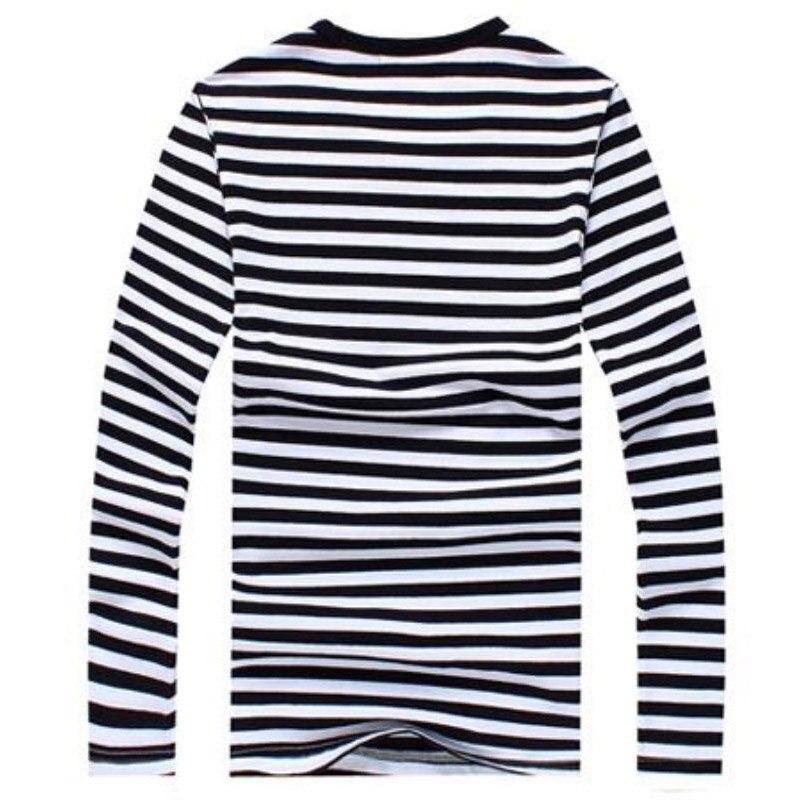 New Mens Striped Military Casual Shirts Long Sleeve Navy Boys Tops T-Shirts Classic Cotton T shirt Men O-Neck Mens Tops Shirts