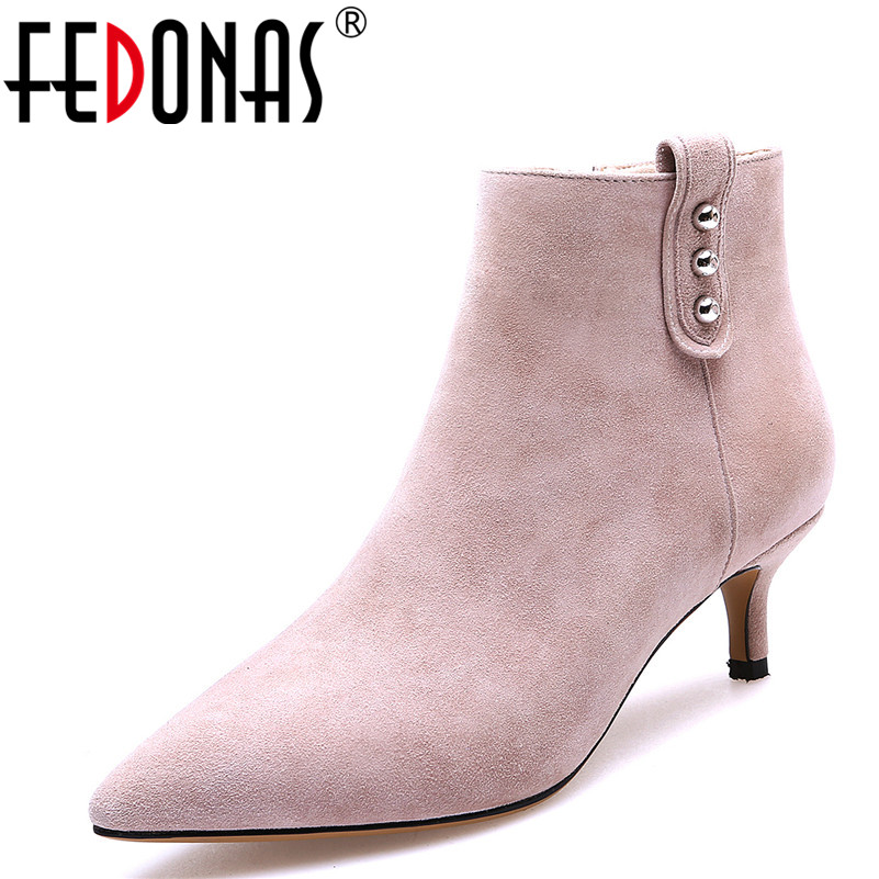 FEDONAS Women Boots Fashion Brand Elegant Medium Heel Autumn Winter Ankle Boots Top Quality Sheep Suede Pointed Toe Shoes Woman ...