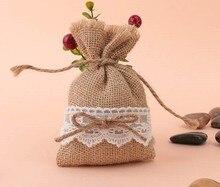 free shipping  jute  lace Burlap  bag Candy Bag burlap bag Lace beads bag newspaper burlap coaster