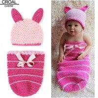 Roze konijn baby foto props egnes kleden clothing hoge kwaliteit haak baby gebreide slaapzak oor beanie hoed voor meisjes zuigeling