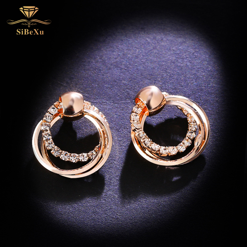 Fashion Women 925 Sliver Earring Crystal Rhinestone With Swarovski Element Luxury Office Ladies Circle Ear Buckle Party Jewelry