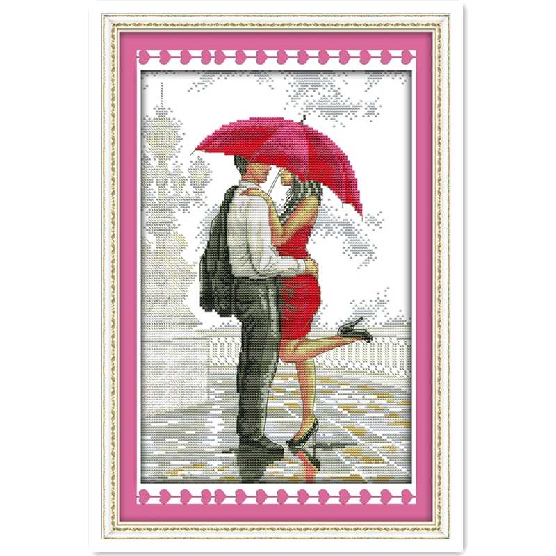 A Romantic Walking In The Rain Cross Stitch Kit Embroidery Cross Set Painting Chinese Counted Cross Stitch Pattern Needlework