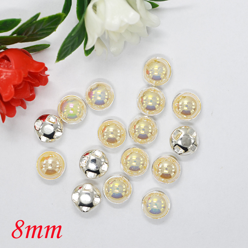 Beautiful Sewing Rhinestones 8mm 500pcs Ivory White AB Color Silver Base  Sewing Pearls 7575c87c2cec