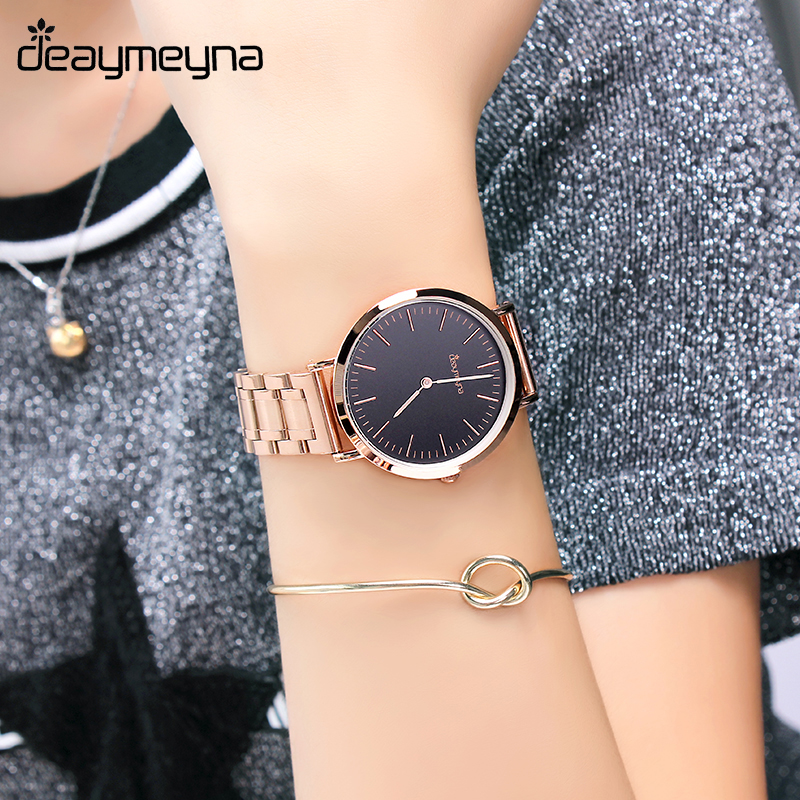 Deaymeyna Luxury Quartz Wrist Watch Ladies Watch Fashion Dress Women Watches Stainless Steel Girls Gift Present