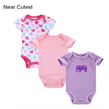 90782a69a Cerca 3 unids/lote mameluco del bebé recién nacido bebé niña ropa infantil bebé  cuerpo