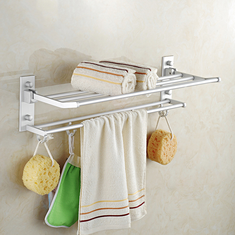 ФОТО Aluminum double layer bathroom towel rack wall mounted suction cup towel holder and shelf toalleros inoxidable de banos