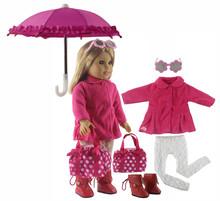 New 1 Set Pink Dress Doll Clothes for 18'' American Girl Bitty Baby Doll Handmade Fashion Lovely Clothes X88